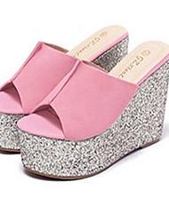 Women's Slippers & Flip-Flops Summer / Fall Wedges / Open Toe PVC Casual Flat Heel Rivet Black / Pink