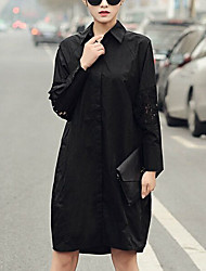 Women's Going out / Casual/Daily Simple Shirt Dress,Solid Shirt Collar Knee-length Long Sleeve White / Black Cotton Fall