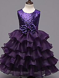 Ball Gown Knee-length Flower Girl Dress - Organza Sleeveless Jewel with Tiers