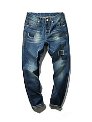 Men's British Style Slim Hole Jeans,Cotton / Polyester Blue