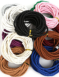 Beadia 4mm Round Braided PU Leather Cord Rope String For DIY Jewelry Necklace Bracelet Craft Making(5Mts)
