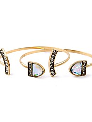 2pcs/set Bohemian Rhinestone Cuff Bracelets Golden Shell Bracelet Fashionable Geometric Alloy Jewellery Christmas Gifts