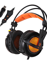 SADES A6 Hot Orange 7.1 Virtual Surround Sound USB Headset Headphones with Microphone Volume Control LED Lights