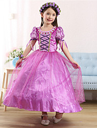 Ball Gown Ankle-length Flower Girl Dress - Satin / Tulle Short Sleeve Jewel with Crystal Detailing / Ruffles