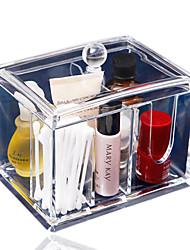 suporte de armazenamento acrílica caixa de cotonete Q-Tip clara novo design de maquiagem caixa de armazenamento cosméticos mulheres
