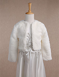 Kids' Wraps Coats/Jackets Long Sleeve Faux Fur Ivory Wedding / Party/Evening / Casual Scoop 34cm Pattern Open Front