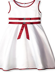 A-line Knee-length Flower Girl Dress - Jersey Sleeveless Jewel with Crystal Detailing / Sash / Ribbon