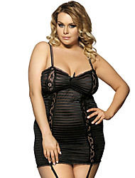 Women Pleats Tight Suspenders Thin Yarn Lace Lingerie Perspective Nightgown