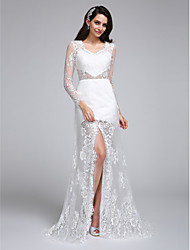 LAN TING BRIDE Trumpet / Mermaid Wedding Dress See-Through Sweep / Brush Train V-neck Lace with Lace