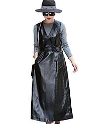 Women's Casual/Daily Street chic Trench Coat,Solid V Neck Sleeveless Winter Black PU Medium