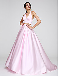2017 ts couture® prom Abendkleid a-line Halfter Sweep / Pinsel Zug Satin mit