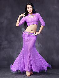 Belly Dance Outfits Women's Performance Lace Lace / Ruffles 2 Pieces Black / Fuchsia / Purple / Royal Blue No Belt