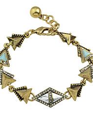 Rhinestone Geometric Charms  Link Bracelet