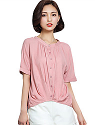 Women's Going out/Casual/Daily Summer/Fall T-shirt Solid Color Loose Round Neck ½ Length Sleeve Pink/White Tops
