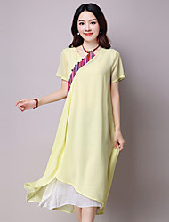 Women's Casual/Daily Chinoiserie Loose Dress,Patchwork Asymmetrical Asymmetrical Short Sleeve Green / Yellow Summer