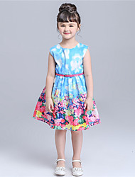 KIMOCAT  Girl's Casual/Daily Floral Dress,Cotton Summer Blue