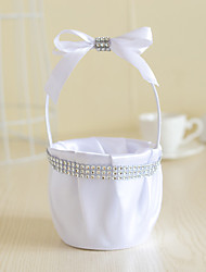 White Satin with Crystal Heart Shape Bow Bowkont Decoration Flower Basket for Wedding Party(12*12*24cm)