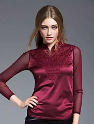 trabalho sofisticado primavera JOJ das mulheres shirtsolid em torno do pescoço de manga comprida rayon translúcido