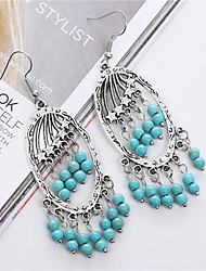 Fashion Vintage Ethnic Style Turquoise Tassel Earrings For Women Brand Charm Silver Drop Earring Fine Jewelry brincos