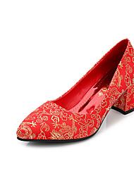 Homme-Mariage-Rouge-Gros Talon-Talons / Bout Pointu / Bout Fermé-Chaussures à Talons-Tissu
