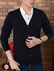 Men's Solid Formal Cardigan,Cotton Long Sleeve Black / Red / White / Gray