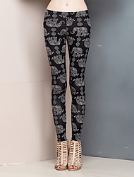 Women's Animal Print Black Skinny Pants,Simple