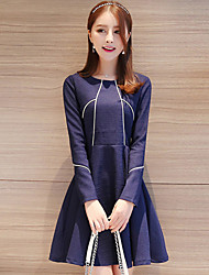 Women's Casual/Daily Simple Sheath Dress,Striped Round Neck Above Knee Long Sleeve Blue Cotton Fall