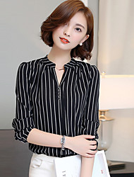 Women's Casual/Daily Simple Summer Shirt,Striped V Neck Long Sleeve White / Black Polyester Thin