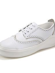 Herren-Sneaker-Lässig-PU-Flacher Absatz-Komfort-Schwarz / Weiß