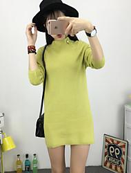 Long Pullover Femme Sortie Mignon,Couleur Pleine Noir / Marron / Gris / Vert Col Roulé Manches Longues Coton / AcryliquePrintemps /