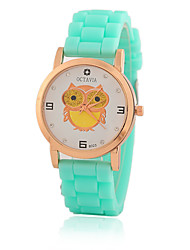 Kid Women's Silicone Band White Owl Case Jelly Silicone Band Analog Quartz Fashion Dress Casual Watch Strap Watch