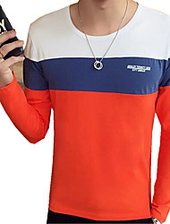 Herren T-shirt-Einfarbig Freizeit Baumwolle / Polyester Lang-Blau / Orange / Grau