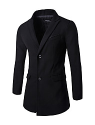 Men's Korean Slim Simple Gentleman Dress Long Section Woolen Coat,Cotton / Polyester Long Sleeve-Black / Gray