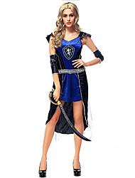 Costumes de Cosplay / Costume de Soirée Soldat/Guerrier / Pirate Fête / Célébration Déguisement Halloween Noir / Bleu Couleur Pleine Robe