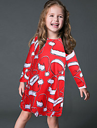 Girl's Party/Cocktail Print DressPolyester Winter / Spring / Fall Red