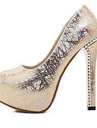 Mujer-Tacón Robusto-Zapatos del club Light Up Zapatos-Tacones-Boda Vestido Informal-PU-Plata Oro