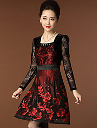 Women's Casual/Daily Simple Sheath Dress,Embroidered Square Neck Above Knee Long Sleeve Red Polyester Spring
