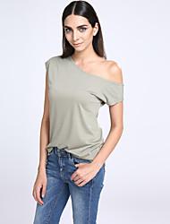 Damen Solide Einfach / Street Schick Lässig/Alltäglich T-shirt,Schulterfrei Kurzarm Weiß / Schwarz / Grün Polyester Dünn