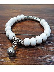 Women's Circle White/Pink  Ceramic Strand Bracelets 1pc