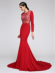 TS Couture® Formal Evening Dress Fit & Flare Jewel Court Train Jersey with Appliques