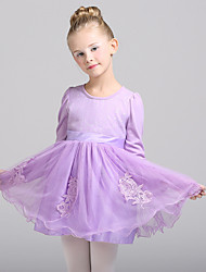 A-line Knee-length Flower Girl Dress - Cotton / Tulle Long Sleeve Jewel with Appliques / Sash / Ribbon