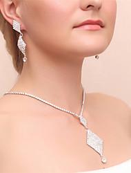 Halskette / Ohrringe Modisch Zirkon Aleación Silber Halsketten Ohrringe Für Hochzeit Party 1 Set Hochzeitsgeschenke