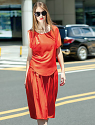 Frauen Jahrgang Frühjahr weise Rock, solide Rundhals Kurzarm Orange Polyester undurchsichtigen Ausgehen