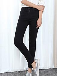 Women's Solid Black Jeans / Skinny PantsSimple