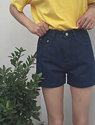 Women's Solid Blue Jeans / Shorts Pants,Vintage