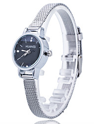 Women/Lady's Thin Silver Alloy Band White/Black Case Analog Quartz Fashion Dress Casual Watch