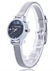 mulheres / banda de liga de prata fina caixa branca / preta de quartzo analógico vestido da forma da senhora relógio ocasional