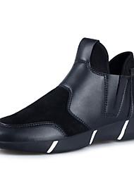 Черный Серебристый-Мужской-Повседневный-Дерматин-На плоской подошве-Удобная обувь-Ботинки