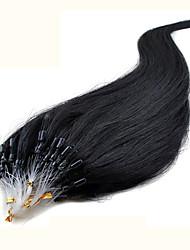 """20 """"negro azabache (# 1) 100s remy micro loop extensiones de cabello humano"""