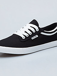 Men's Flats Spring / Fall Round Toe / Flats Fabric Casual Flat Heel Others / Lace-up Black / Blue / White / Gray